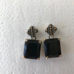 Jewelry - Black Glass Earrings Unique Posts Design Vintage